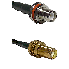 TNC Reverse Polarity Female Bulkhead on LMR-195-UF UltraFlex to SMA Female Bulkhead Coaxial Cable As