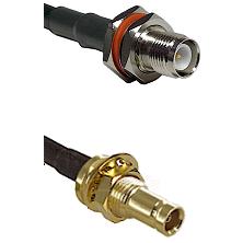 TNC Reverse Polarity Female Bulkhead on LMR200 UltraFlex to 10/23 Female Bulkhead Coaxial Cable As