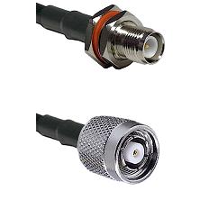 TNC Reverse Polarity Female Bulkhead on LMR200 UltraFlex to TNC Reverse Polarity Male Coaxial Cable