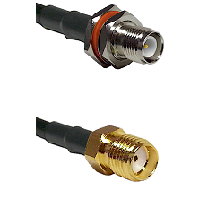 TNC Reverse Polarity Female Bulkhead on LMR200 UltraFlex to SMA Reverse Thread Female Coaxial Cable