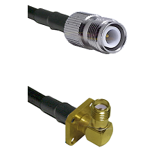 TNC Reverse Polarity Female on LMR-195-UF UltraFlex to SMA 4 Hole Right Angle Female Coaxial Cable A