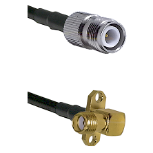 TNC Reverse Polarity Female on LMR240 Ultra Flex to SMA 2 Hole Right Angle Female Coaxial Cable Asse