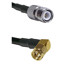 TNC Reverse Polarity Female on LMR240 Ultra Flex to SMA Right Angle Male Cable Assembly