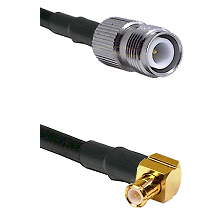 TNC Reverse Polarity Female on RG142 to MCX Right Angle Male Cable Assembly