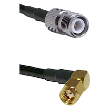 TNC Reverse Polarity Female on RG58 to SMA Reverse Polarity Right Angle Male Cable Assembly