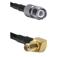 TNC Reverse Polarity Female on RG58C/U to SMA Right Angle Female Bulkhead Cable Assembly