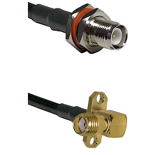 TNC Reverse Polarity Female Bulkhead Connector On LMR-240UF UltraFlex To SMA 2 Hole Right Angle Fema