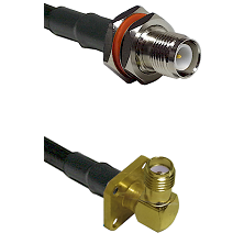 TNC Reverse Polarity Female Bulkhead Connector On LMR-240UF UltraFlex To SMA 4 Hole Right Angle Fema