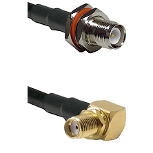 TNC Reverse Polarity Female Bulkhead on RG58C/U to SMA Right Angle Female Bulkhead Coaxial Cable Ass