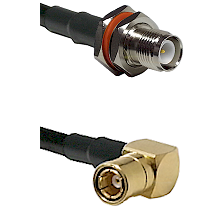 TNC Reverse Polarity Female Bulkhead on RG58C/U to SMB Right Angle Female Cable Assembly