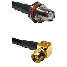TNC Reverse Polarity Female Bulkhead on RG58C/U to SMC Right Angle Female Cable Assembly