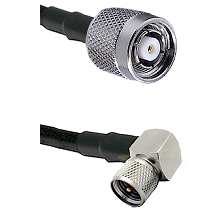 TNC Reverse Polarity Male on LMR100 to Mini-UHF Right Angle Male Cable Assembly