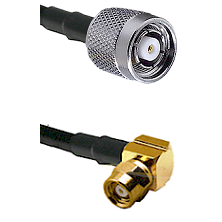 TNC Reverse Polarity Male on LMR100 to SMC Right Angle Female Cable Assembly