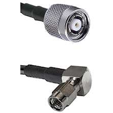 TNC Reverse Polarity Male on LMR100 to SSMA Right Angle Male Cable Assembly
