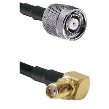 TNC Reverse Polarity Male on LMR100 to SMA Reverse Thread Right Angle Female Bulkhead Coaxial Cable