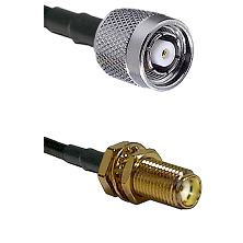 TNC Reverse Polarity Male on LMR100 to SMA Female Bulkhead Cable Assembly