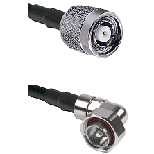 TNC Reverse Polarity Male on LMR200 UltraFlex to 7/16 Din Right Angle Male Cable Assembly