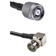 TNC Reverse Polarity Male on LMR200 UltraFlex to BNC Reverse Polarity Right Angle Male Coaxial Cable