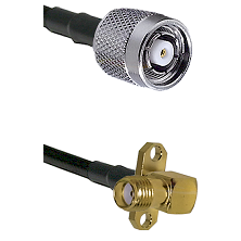TNC Reverse Polarity Male on LMR240 Ultra Flex to SMA 2 Hole Right Angle Female Coaxial Cable Assemb