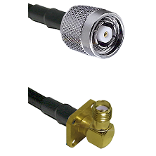 TNC Reverse Polarity Male on LMR240 Ultra Flex to SMA 4 Hole Right Angle Female Coaxial Cable Assemb