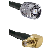 TNC Reverse Polarity Male on LMR240 Ultra Flex to SMA Right Angle Female Bulkhead Coaxial Cable Asse