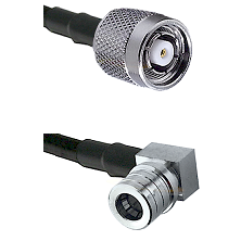 TNC Reverse Polarity Male on RG400 to QMA Right Angle Male Cable Assembly