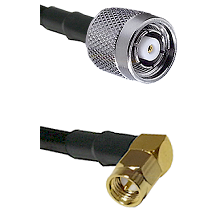 TNC Reverse Polarity Male on RG58C/U to SMA Right Angle Male Cable Assembly