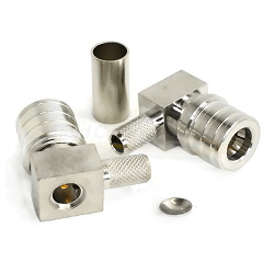 RQA-5010-C1 RF Industries QMA Plug, RIGHT-ANGLE CRIMP, (SNAP-LOCK), CBL GRP C1; WB,Gold,T