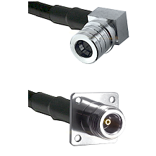 QMA Right Angle Male on Belden 83242 RG142 to N 4 Hole Female Cable Assembly