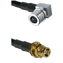 QMA Right Angle Male on LMR100 to MCX Female Bulkhead Cable Assembly
