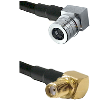 QMA Right Angle Male on LMR-195-UF UltraFlex to SMA Reverse Thread Right Angle Female Bulkhead Coaxi