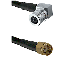 QMA Right Angle Male on LMR200 to SMA Reverse Polarity Male Cable Assembly
