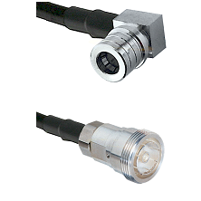 QMA Right Angle Male on RG142 to 7/16 Din Female Cable Assembly
