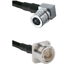 QMA Right Angle Male on RG142 to 7/16 4 Hole Female Cable Assembly