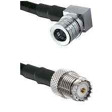 QMA Right Angle Male on RG142 to Mini-UHF Female Cable Assembly
