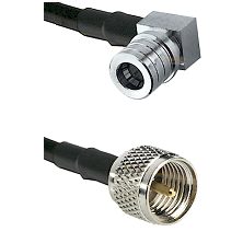 QMA Right Angle Male on RG142 to Mini-UHF Male Cable Assembly