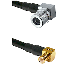 QMA Right Angle Male on RG142 to MCX Right Angle Male Cable Assembly