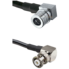 QMA Right Angle Male on RG142 to MHV Right Angle Male Cable Assembly