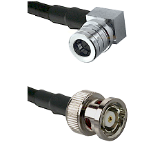 QMA Right Angle Male on RG142 to BNC Reverse Polarity Male Cable Assembly