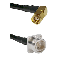 SMA Reverse Polarity Right Angle Male on RG142 to 7/16 4 Hole Female Cable Assembly