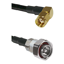 SMA Reverse Polarity Right Angle Male on RG142 to 7/16 Din Male Cable Assembly