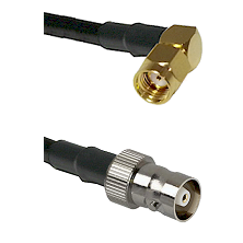 SMA Reverse Polarity Right Angle Male on RG142 to C Female Cable Assembly