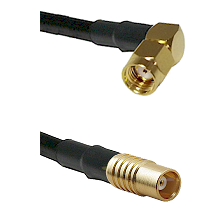 SMA Reverse Polarity Right Angle Male on RG142 to MCX Female Cable Assembly
