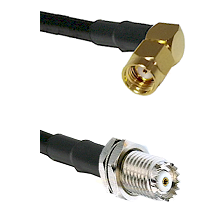 SMA Reverse Polarity Right Angle Male on RG142 to Mini-UHF Female Cable Assembly