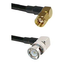 SMA Reverse Polarity Right Angle Male on RG142 to BNC Right Angle Male Cable Assembly
