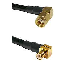 SMA Reverse Polarity Right Angle Male on RG142 to MCX Right Angle Male Cable Assembly