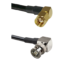 SMA Reverse Polarity Right Angle Male on RG142 to BNC Reverse Polarity Right Angle Male Coaxial Cabl