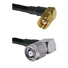 SMA Reverse Polarity Right Angle Male on RG142 to TNC Reverse Polarity Right Angle Male Coaxial Cabl