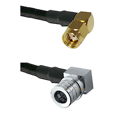 SMA Reverse Polarity Right Angle Male on RG142 to QMA Right Angle Male Cable Assembly