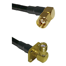 SMA Reverse Polarity Right Angle Male on RG142 to SMA 4 Hole Right Angle Female Coaxial Cable Assemb